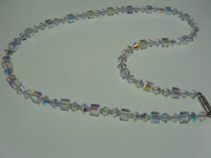 Crystal Aurora Borealis Diamond and Cubed Shaped Swarivski Crystal Necklace