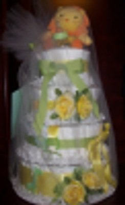 4 Tier Diaper Cake Centerpiece (Unisex)