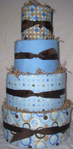 4Tier Baby Shower Gift Modern Blue Brown Diaper Cake Boy