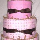 4Tier Baby Shower Gift  Modern Pink Brown Diaper Cake Girl