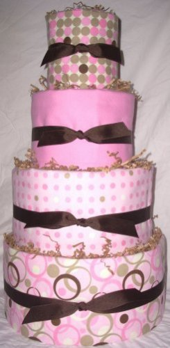 4Tier Baby Shower Gift  Modern Pink Brown Diaper Cake Girl