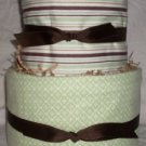 2Tier Baby Shower Gift Modern Sage Brown Diaper Cake Boy Girl