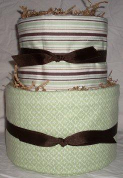 2Tier Baby Shower Gift Modern Sage Brown Diaper Cake Boy Girl