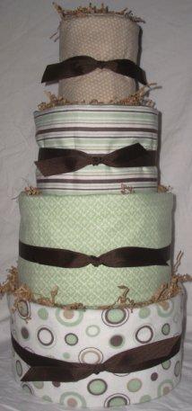 4Tier Baby Shower Gift Modern Sage Brown Diaper Cake Boy Girl