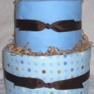 2Tier Baby Shower Gift Modern Blue Brown Diaper Cake Boy