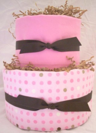 2Tier Baby Shower Gift  Modern Pink Brown Diaper Cake Girl