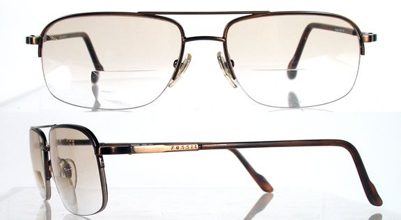 FOSSIL Norman Antique Copper Semi-Rimless Eyeglass Frames