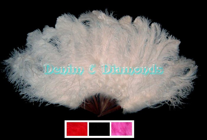 XL White Ostrich Feather Burlesque Dance Fan