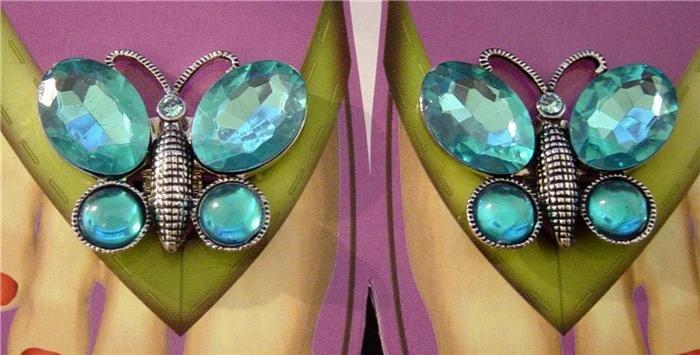 Rhinestone Butterfly Shoe Sandal Flip Flop Clips Aqua