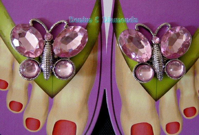 Rhinestone Butterfly Shoe Sandal Flip Flop Clips Pink