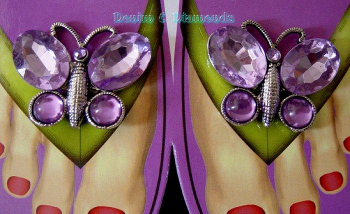 Rhinestone Butterfly Shoe Sandal Flip Flop Clips Lilac Purple