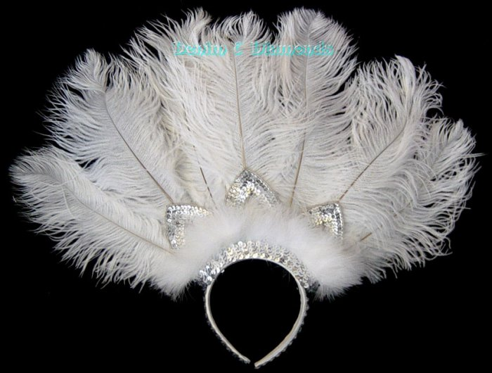 Custom Made White Ostrich Feather Headband Headdress