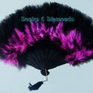 Hot Pink & Black Marabou Feather Hand Fan