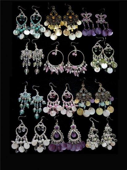 6 Prs Wholesale Rhinestone, Shell, Beaded Chandelier/Dangle Earrings Lot
