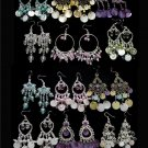 6 Prs Wholesale Rhinestone, Shell, Beaded Chandelier/Dangle Earrings Lot