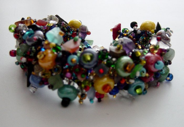 Handmade Lampork Glass & Seed Beaded Spray Bracelet