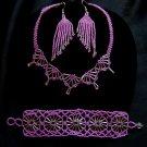 Handmade Bugle & Seed Beaded Glass Necklace, Bracelet, Earrings Set