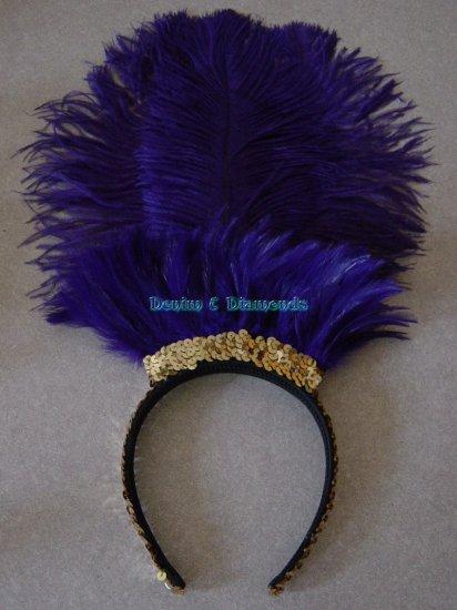 Royal Purple Ostrich Feather Showgirl/Saloon Girl Headband Headdress