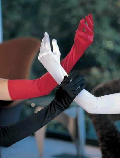 "White Satin Stretch Opera Length Gloves 23"""