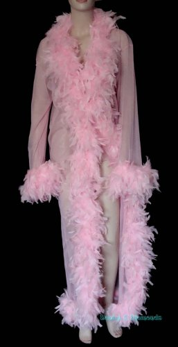 Made to Order Sheer Feather Trim Peignoir Long Robe/Coat Bridal Pink