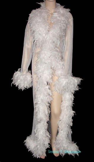 Custom Sheer Feather Trim Peignoir Long Dressing Robe/Coat Wedding/Bridal White Burlesque Costume