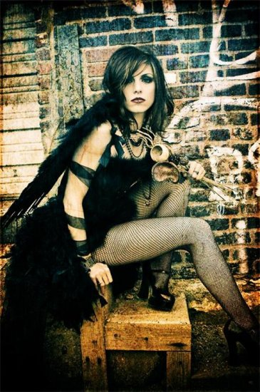 L-Custom Black Angel Feather Burlesque Moulin Costume