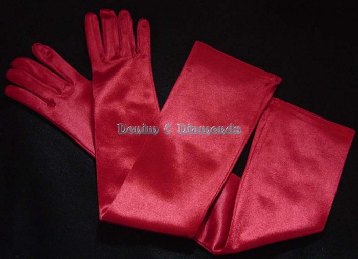 RED Satin Stretch Opera Length Gloves 23""