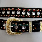 Red Crystal Rhinestone Studded Western Horseshow Belt L