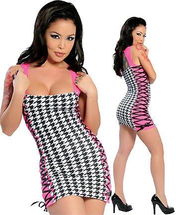 SALE! Sexy Hot Pink/Black/White Corset Lacing Dress EMO Punk