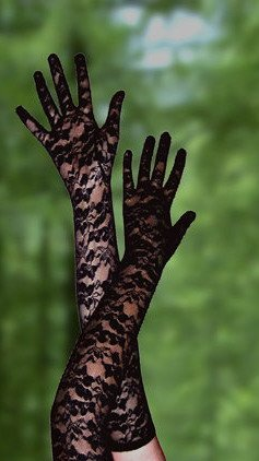 Black Stretch Lace Gloves Opera Length 23""