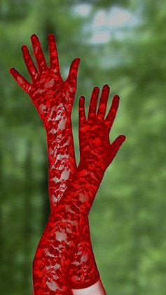 """Red Stretch Lace Gloves Opera Length 23"""""""