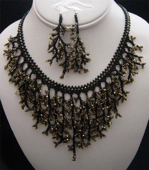 Handmade Beaded Seed Bead Seashell Coral Necklace & Earrings Set