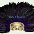 Purple Rooster Feather Headdress w/Removable Mask
