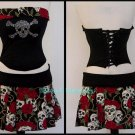 S/M~ Red Rose & Skull Corset & Skirt Set