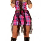 M/L~ Plaid Emo Punk Gothic Dress w/Fishnet Gloves