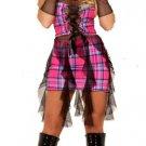 S/M~ Plaid Emo Punk Gothic Dress w/Fishnet Gloves