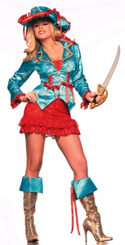 M/L Be Wicked Caribbean Pirate Costume Skirt, Jacket, Hat, Boot Cuffs