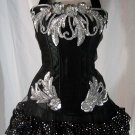 Large~Custom Black/Silver Moulin Rouge Burlesque Can Can Costume