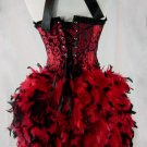 S~Red & Black Garter Strap Burlesque Moulin Costume S