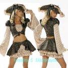 M/L Roma 7pc Caribbean Pirate Costume Skirt, Jacket, Hat, Sword +