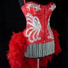 L~Red Siren Moulin Burlesque Showgirl Feather Costume