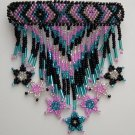 Indian Beaded Glass Leather Barrette Regalia Powwow Native American Style PBBW