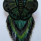 Indian Beaded Butterfly Glass Leather Barrette Regalia Powwow Native American Style Green