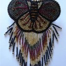 Indian Beaded Butterfly Glass Leather Barrette Regalia Powwow Native American Style Brown