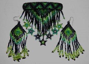 Indian Beaded Glass Leather Barrette & Earrings Regalia Powwow Native American Style Green
