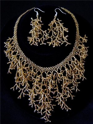 Handmade Beaded Seed Bead Seashell Coral Necklace & Earrings Set Amber Gold