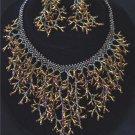 Handmade Beaded Seed Bead Seashell Coral Necklace & Earrings Set Amber Earth