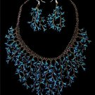 Handmade Beaded Seed Bead Seashell Coral Necklace & Earrings Set Blue/Earth