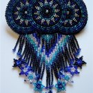 Indian Beaded Glass Leather Barrette Regalia Powwow Native American Black Royal Blue