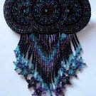 Indian Beaded Glass Leather Barrette Regalia Powwow Native American Purple Blue